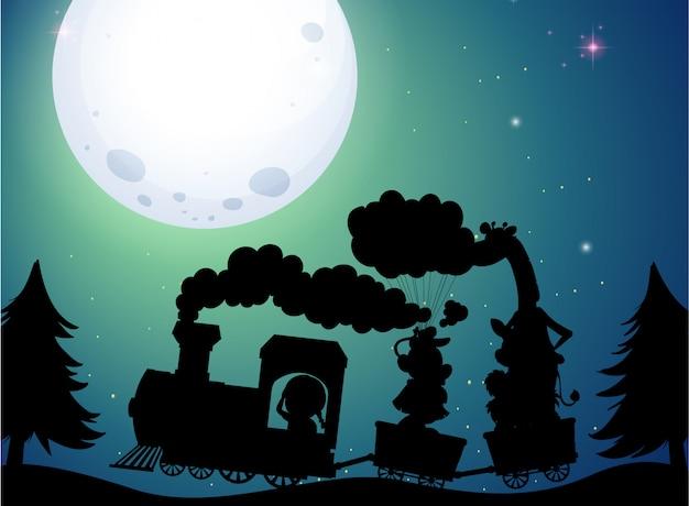 Illustratie van trein silhouet op nacht Premium Vector