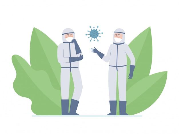 Illustratie van twee artsen - wetenschappers en coronavirus geïsoleerd op wit. denkende medische werkers in preventiemaskers tegen stedelijke luchtverontreiniging, coronavirus en decoratieve planten Premium Vector