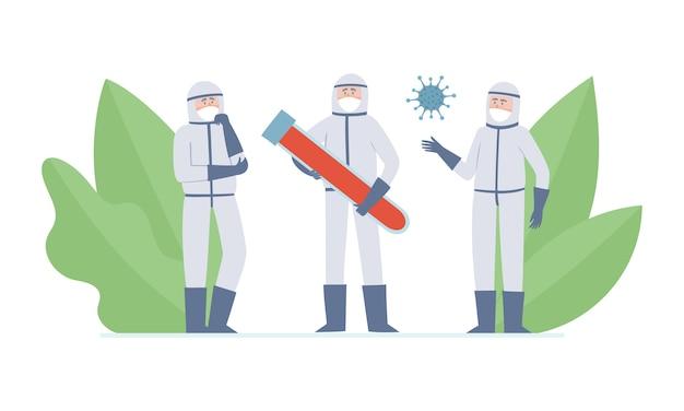 Illustratie van twee kleine doktoren - wetenschappers, coronavuris en buis met bloed, denkende medische hulpverleners en grote buis met bloed in preventiemaskers tegen stedelijke luchtvervuiling, coronavirus. Premium Vector