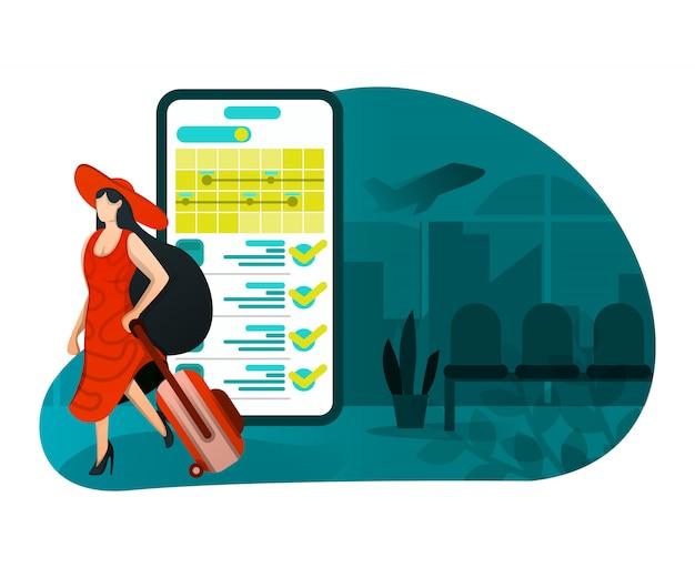 Illustratie van vakantie met technologie Premium Vector