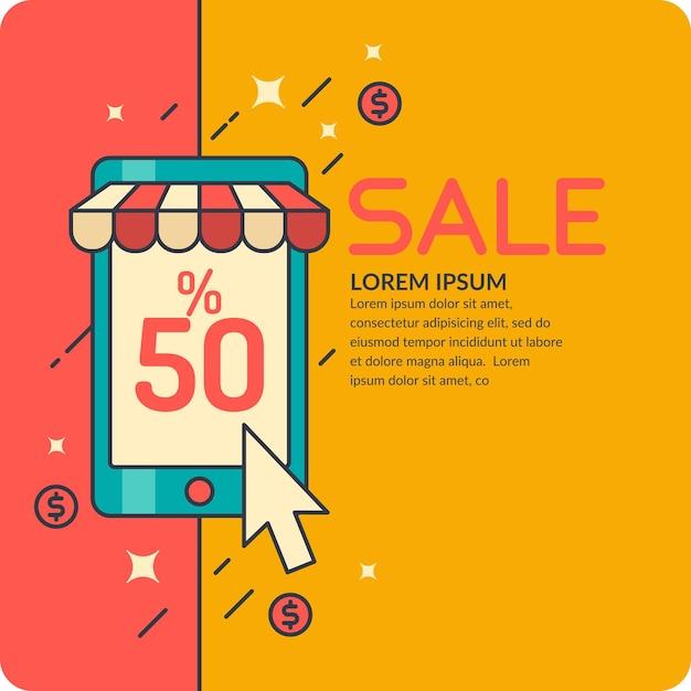 Illustratie van verkoop in cartoon-stijl met telefoon. banner voor reclame, ontwerp, website, flyer of omslag Premium Vector