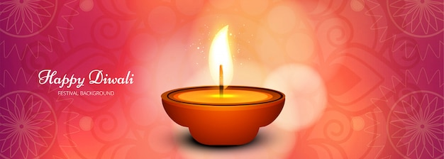 Illustratie van verlichte diwali festival banner of koptekst Gratis Vector