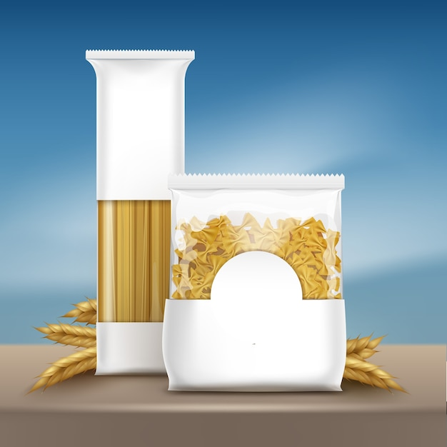 Illustratie van verpakkingsruimte voor tekstsjabloon pasta met spaghetti en farfalle op bruine tafel met tarwe oren op blauwe hemelachtergrond Premium Vector