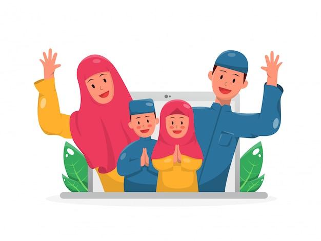 Illustratie van video-oproep gelukkige moslim familie eid vakantie vieren Premium Vector