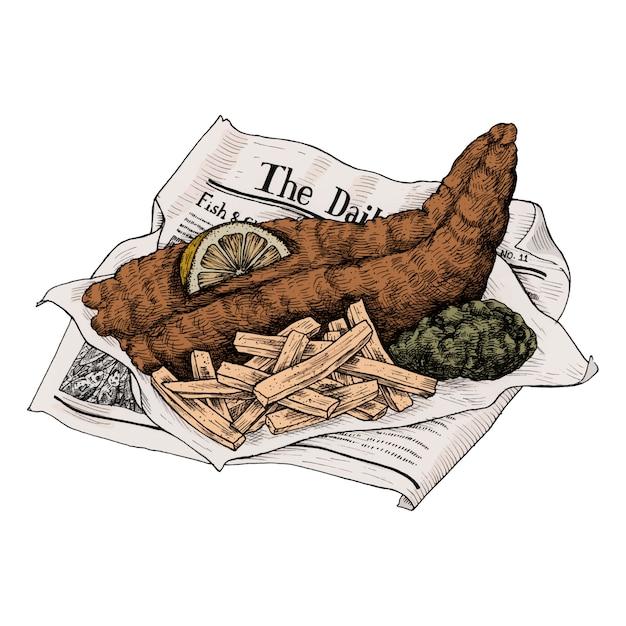 Illustratie van vis met patat Premium Vector