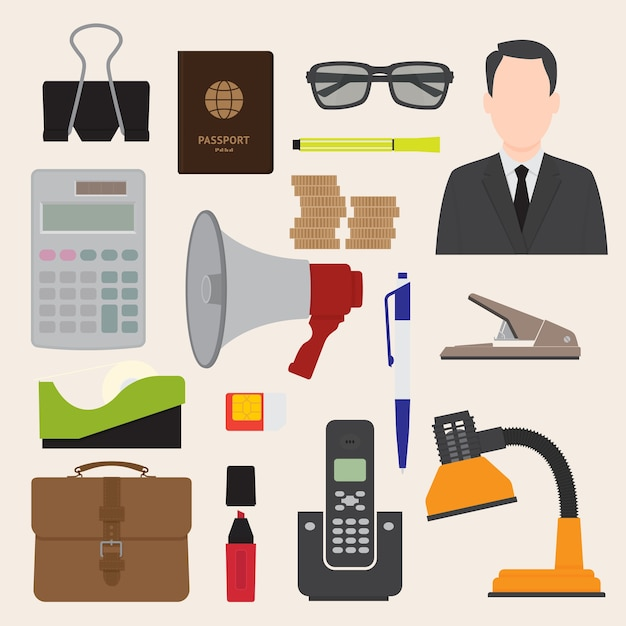 Illustratie van vlakke pictogrammen office business collectie set Premium Vector