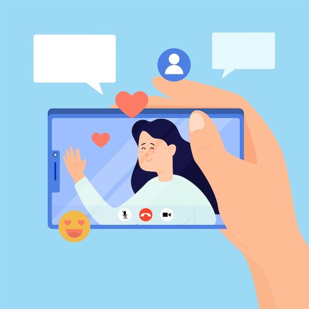 Illustratie van vriendenvideo die telefoon uitnodigen Gratis Vector