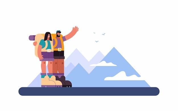 Illustratie van vrolijke man vriendin knuffelen en bergen tonen aan vrouw tijdens reis door hooglanden op zomerdag op platteland Premium Vector