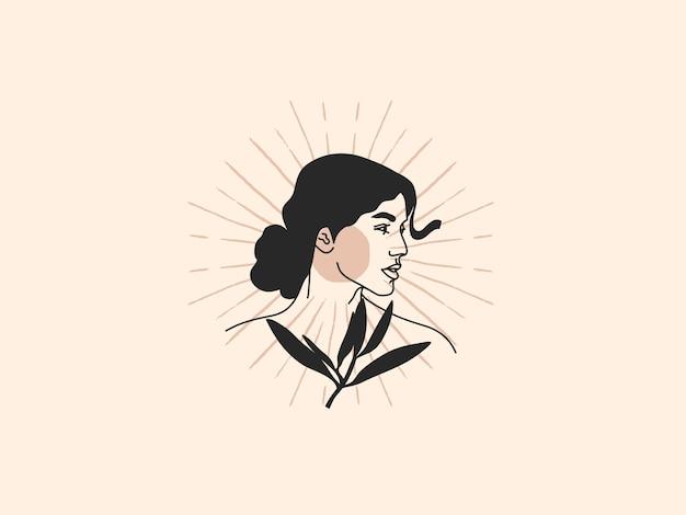 Illustratie van vrouw met plant Premium Vector