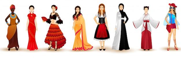 Illustratie van vrouwen in traditionele kledij uit verschillende landen. Premium Vector
