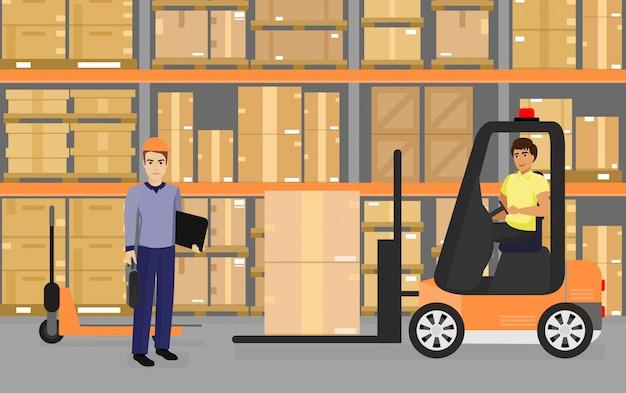 Illustratie van warehousing, goederen en dozen op planken in het magazijn en team van werknemers, transport en logistiek concept in platte cartoon stijl. Premium Vector