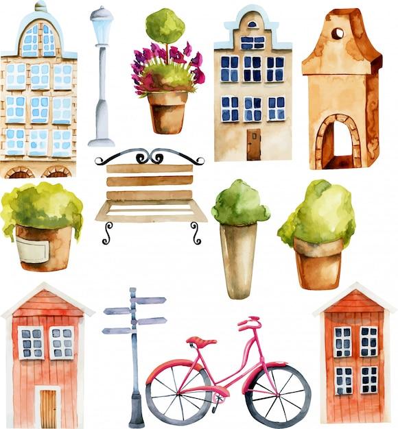 Illustratie van waterverf europese en scandinavische noordse huizen en straatvoorwerpen Premium Vector