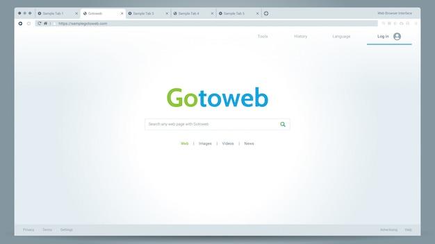 Illustratie van webbrowser lichtmodusvenster ui-vector met een voorbeeldbrowser-app Premium Vector