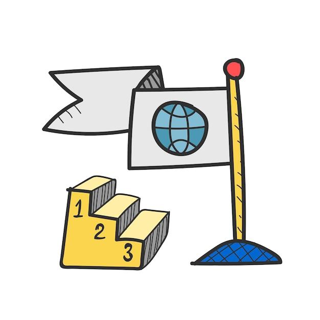 Illustratie van wereldwijde zakelijke concurrentie Gratis Vector