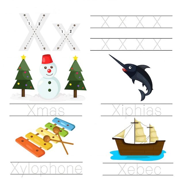 Illustratie van werkblad voor kinderen x lettertype Premium Vector