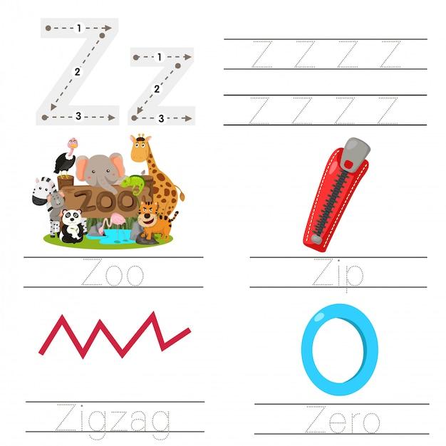 Illustratie van werkblad voor kinderen z-lettertype Premium Vector