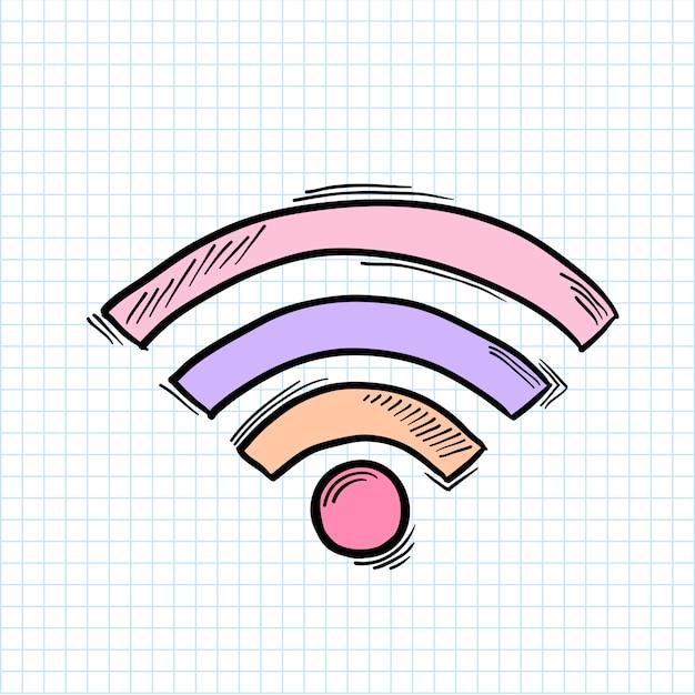 Illustratie van wifi-signaal op achtergrond wordt geïsoleerd die Gratis Vector