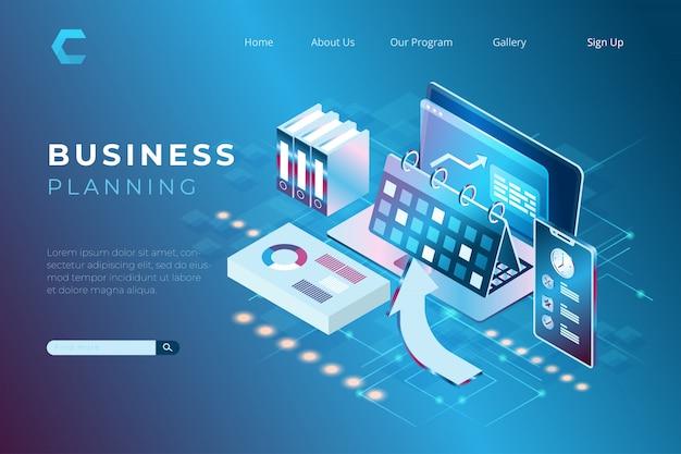 Illustratie van winstgroei met behulp van een businessplan, financiële audit concept met het concept van isometrische bestemmingspagina's en web headers Premium Vector