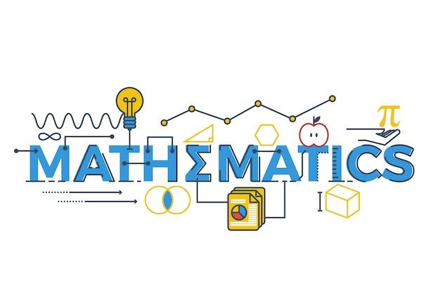 Illustratie van wiskunde woord in stem - wetenschap, technologie, engineering, wiskunde c Premium Vector