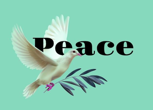Illustratie van witte vredesduif draagt olijftakje op groene achtergrond met ruimte voor tekst Premium Vector