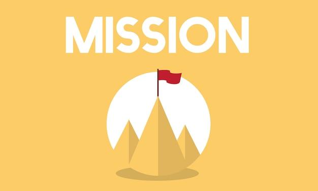 Illustratie van zakelijke missie Gratis Vector