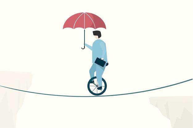 Illustratie van zakenman het in evenwicht brengen Gratis Vector