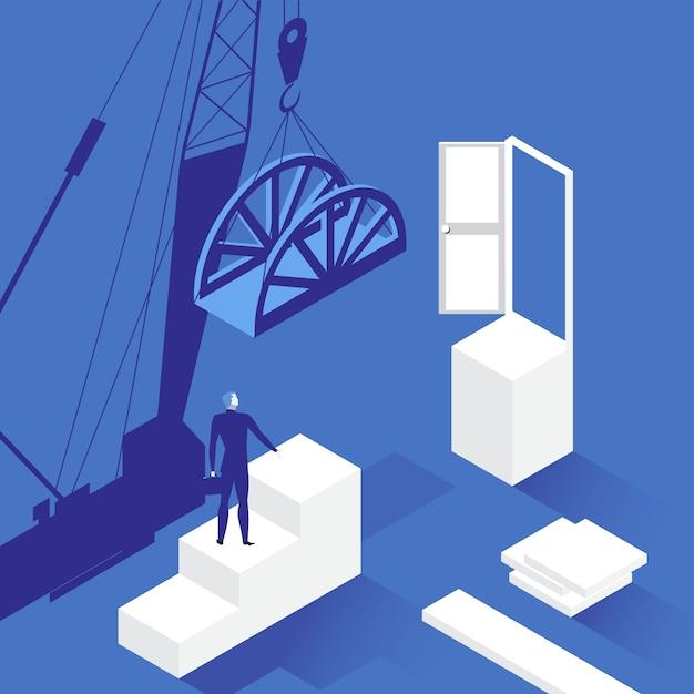 Illustratie van zakenman voor geopende deur Premium Vector