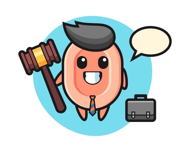 Illustratie van zeep mascotte als advocaat, leuke stijl voor t-shirt, sticker, logo-element Premium Vector