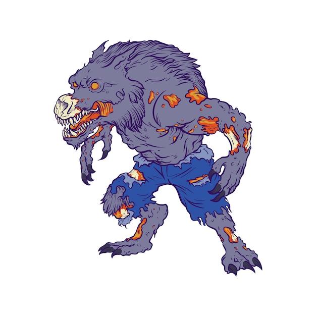 Illustratie van zombie werewolf Premium Vector