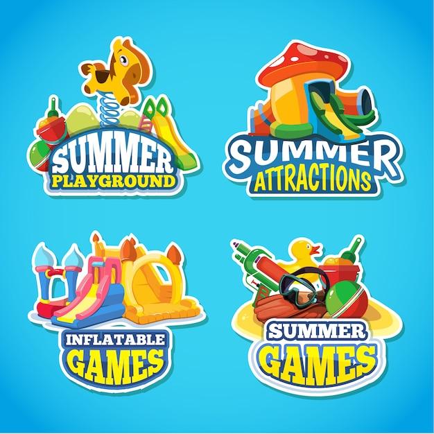 Illustratie van zomer labels Premium Vector