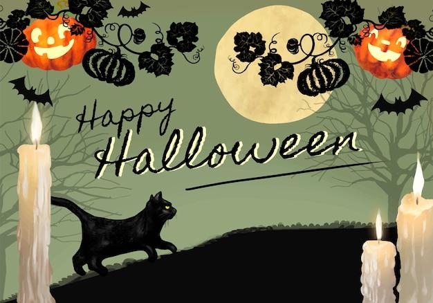 Halloween Thema.Illustratie Van Zwarte Kat Voor Halloween Thema Achtergrond