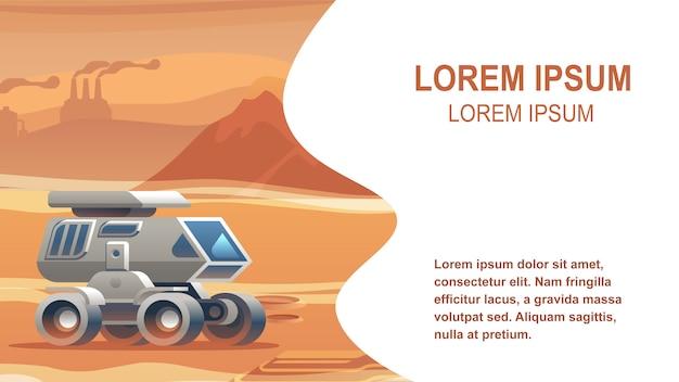 Illustratie voertuig zandoppervlak mars Premium Vector