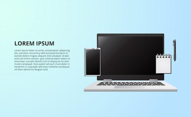 Illustratie voor bedrijfsconcepten freelance werkend bureau met laptop notitieboekje van hoogste mening Premium Vector