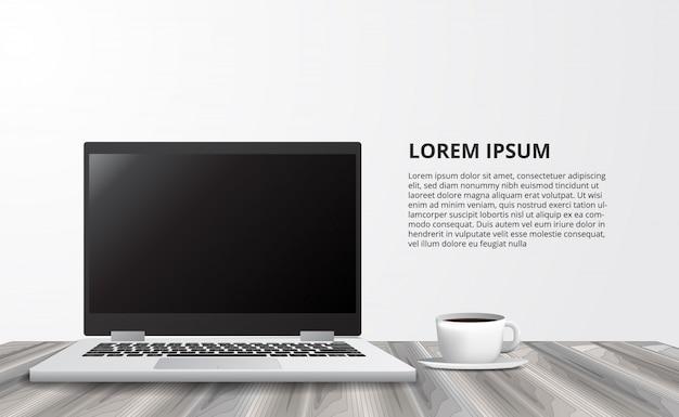 Illustratie voor bedrijfsconcepten freelance werkend bureau met laptop notitieboekje van vooraanzicht Premium Vector