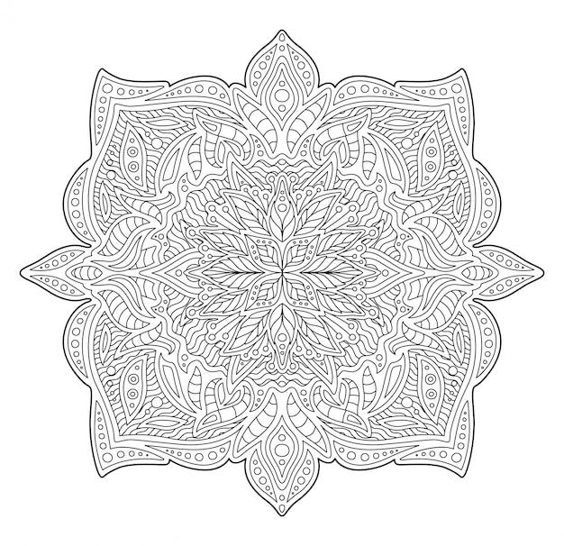Illustratie voor het kleuren van boek met lineair patroon Premium Vector