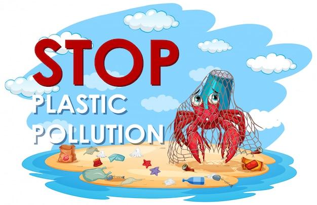 Illustratie voor stop plastic vervuiling Gratis Vector
