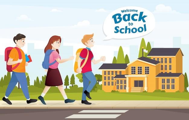 Illustratie voor terug naar school Premium Vector