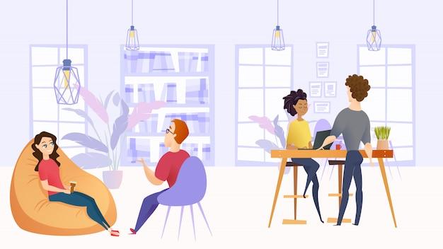Illustratie werkomgeving in bedrijfsbureau Premium Vector