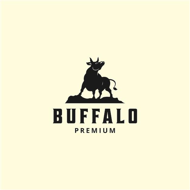 Illustratie wild dier wilde buffels logo ontwerpsjabloon vintage silhouet Premium Vector