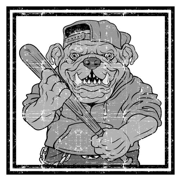 Illustratie woeste bulldog honkbalspeler raakt een bal Premium Vector