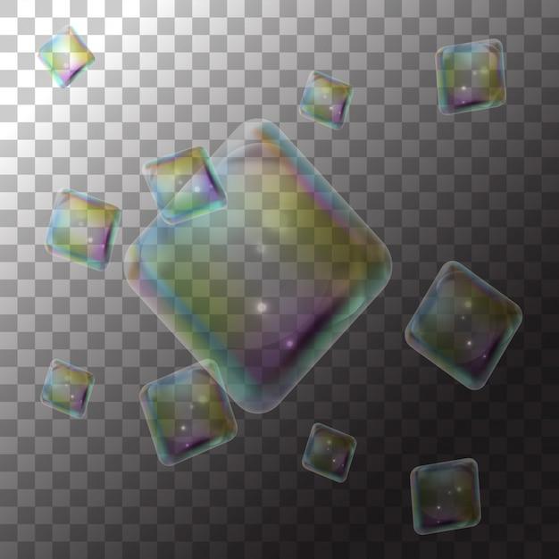 Illustratie zeepbel diamanten op transparant Premium Vector