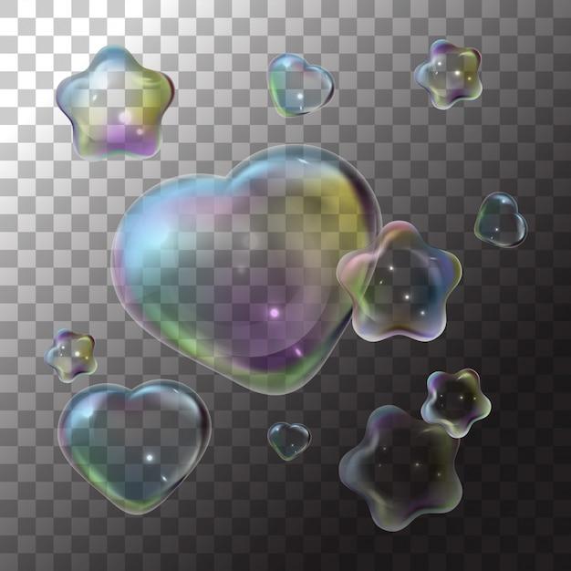 Illustratie zeepbel hart en ster op transparant Premium Vector