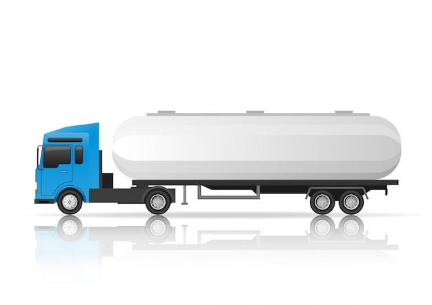Illustratie zijaanzicht van tankervrachtwagen. Premium Vector