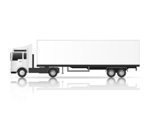 Illustratie zijaanzicht van witte vrachtwagen. Premium Vector