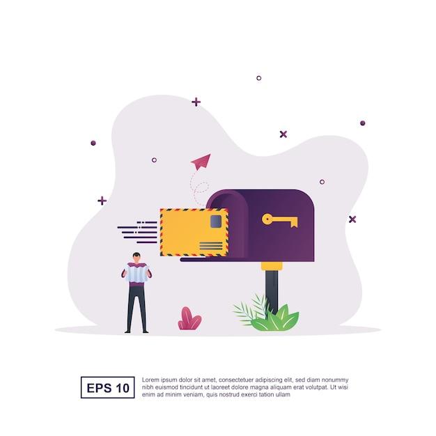 Illustratieconcept bericht met de persoon die de brief in de brievenbus heeft geplaatst. Premium Vector