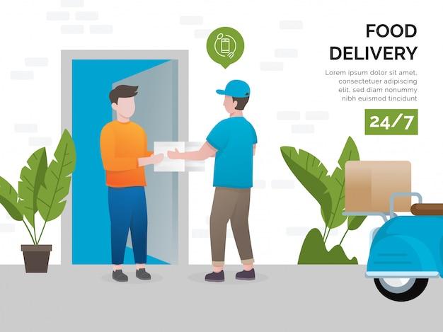 Illustratieconcept de diensten van de voedsellevering Premium Vector