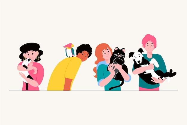 Illustratieconcept met mensen met huisdieren Gratis Vector