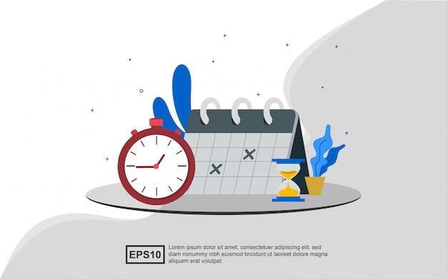 Illustratieconcept tijdbeheer Premium Vector