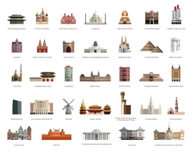 Illustratieinzameling van toeristen beroemde oriëntatiepunten Gratis Vector