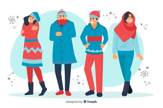 Illustratiemensen die de winterkleren dragen Gratis Vector